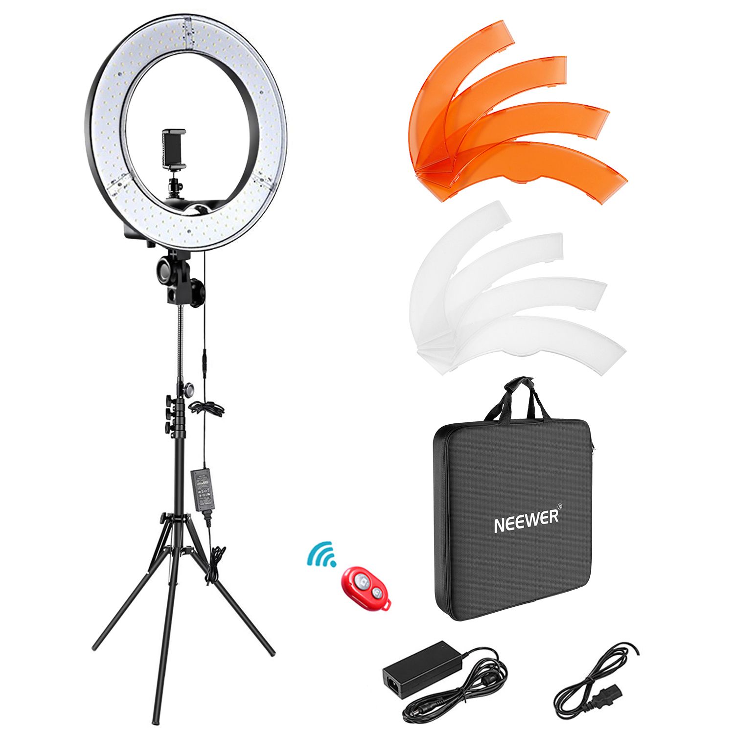 Neewer Camera Photo Video Lightning Kit: 18 inches/48 centimeters Outer 55W 5500K Dimmable LED Ring Light, Light Stand, Bluetooth Receiver for Smartphone, Youtube, Vine Self-Portrait Video Shooting Image