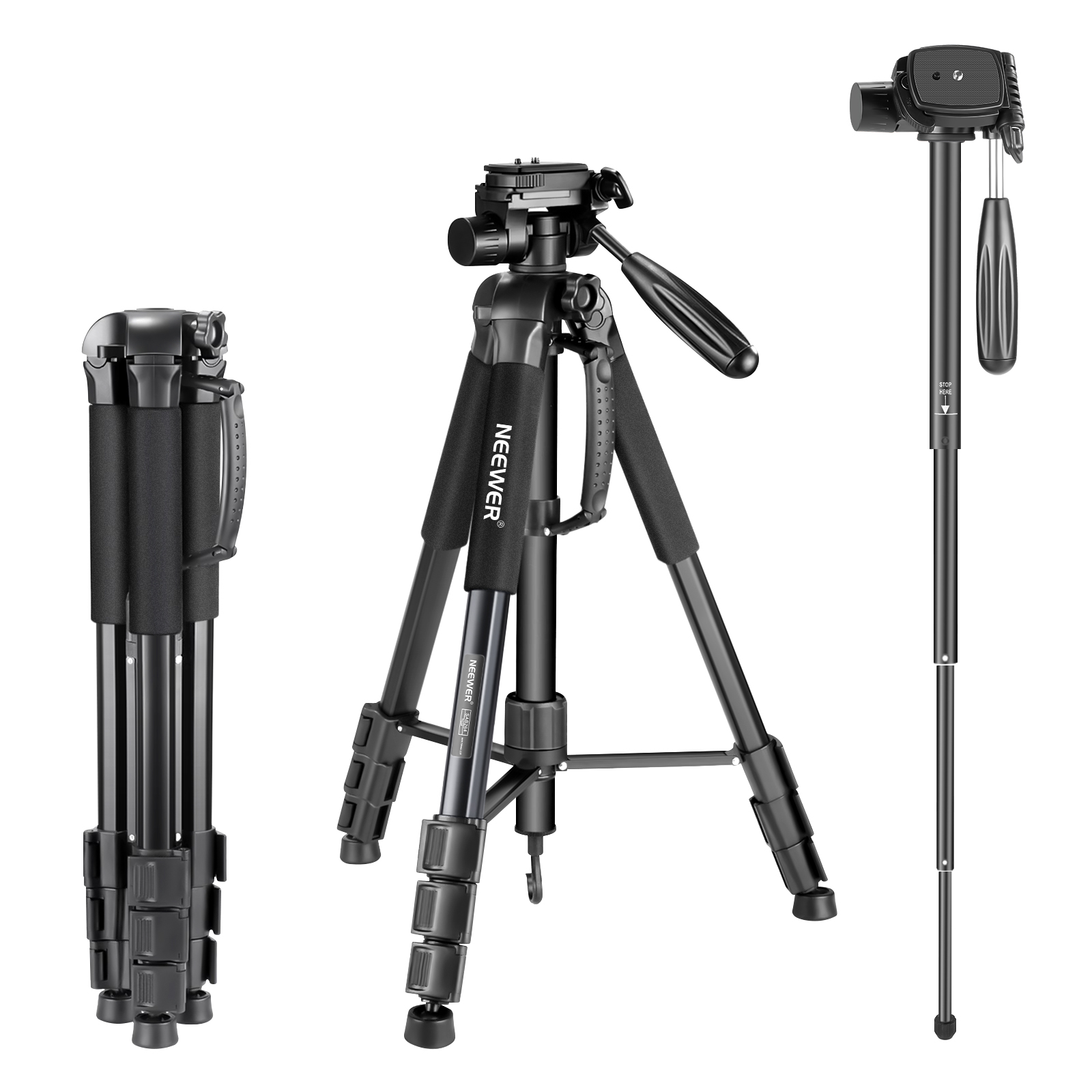 Neewer Portable 70 inches/177 centimeters Aluminum Alloy Camera Tripod Monopod with 3-Way Swivel Pan Head and Carry Bag Image