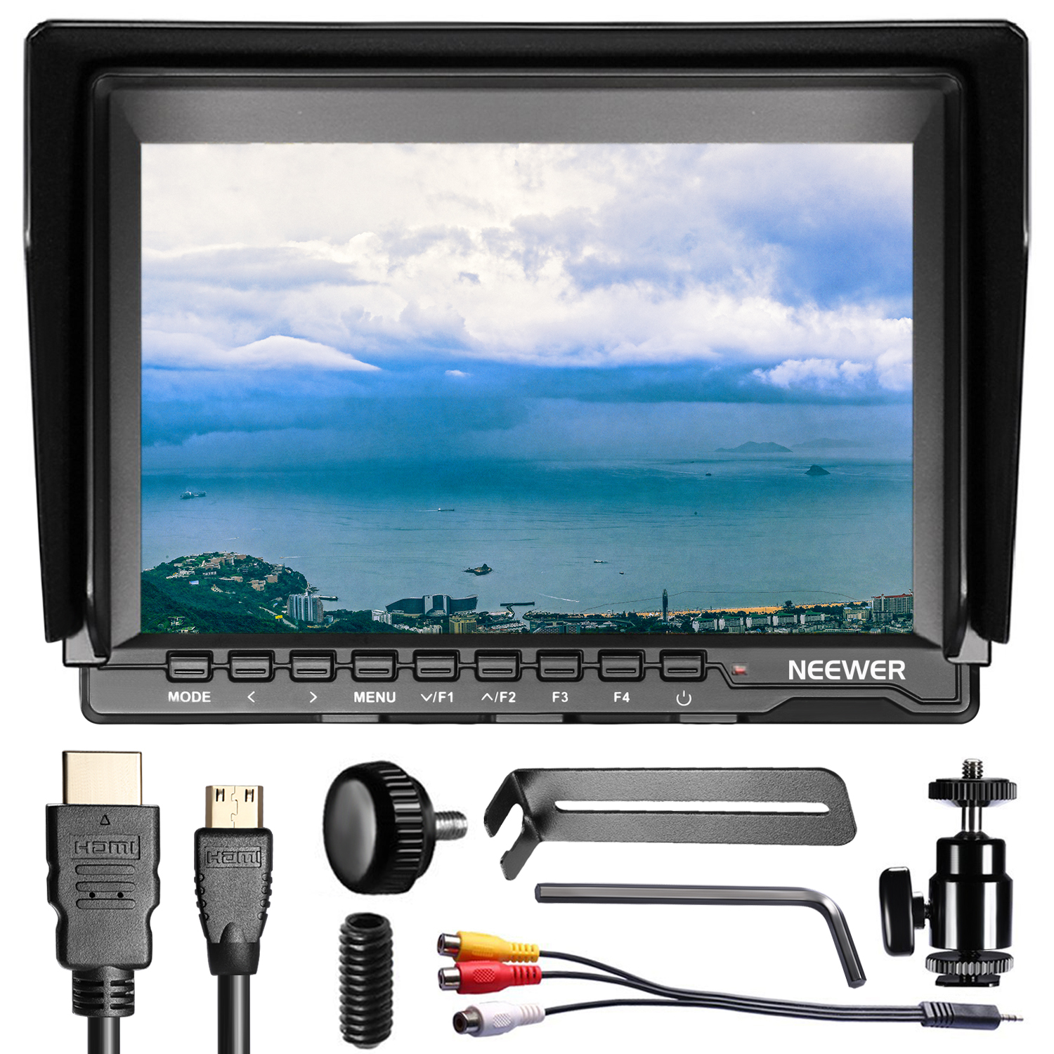 Neewer NW759(C) 7 inches 1280x800 IPS Screen Field Monitor with 1 Mini HDMI Cable for BMPCC AV Cable for FPV Image