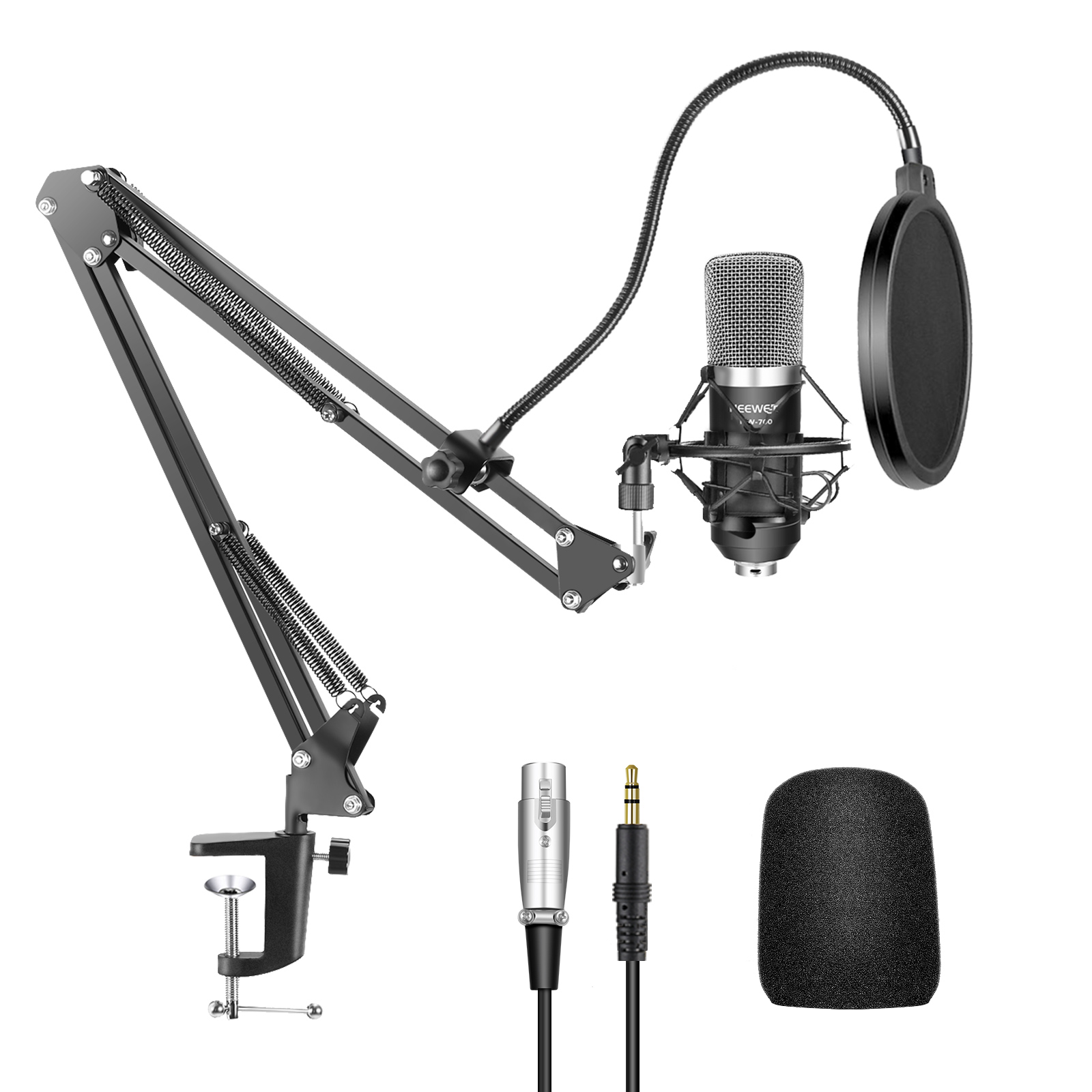 Neewer NW-700 Professional Studio Broadcasting Recording Condenser Microphone & NW-35 Adjustable Recording Microphone Suspension Scissor Arm Stand with Shock Mount and Mounting Clamp Kit Image